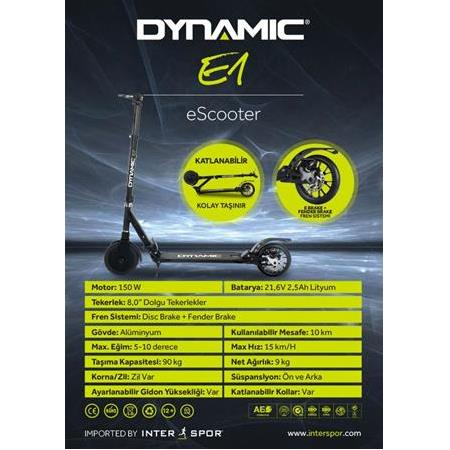 Dynamic E1 E-Scooter - Elektrikli Scooter